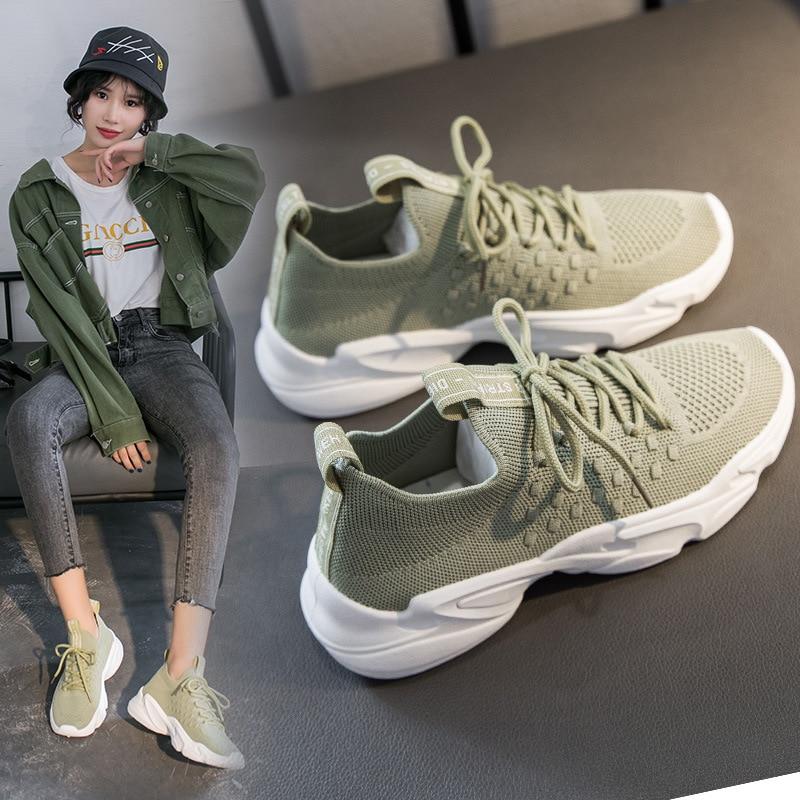 2020 Women Fashion Shoes Color Casual Sport Sneakers Female Trend Casual Women's Vulcanize Shoes Comfortable Mesh Women's Shoes