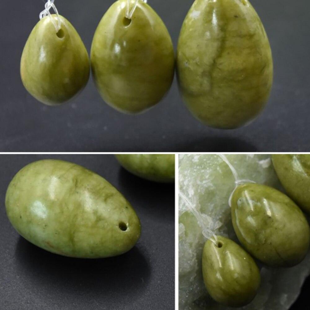 Masajeador de huevos de Jade Natural rehabilitación postparto ejercicios de Jade músculos del suelo pélvico mancuerna Vaginal
