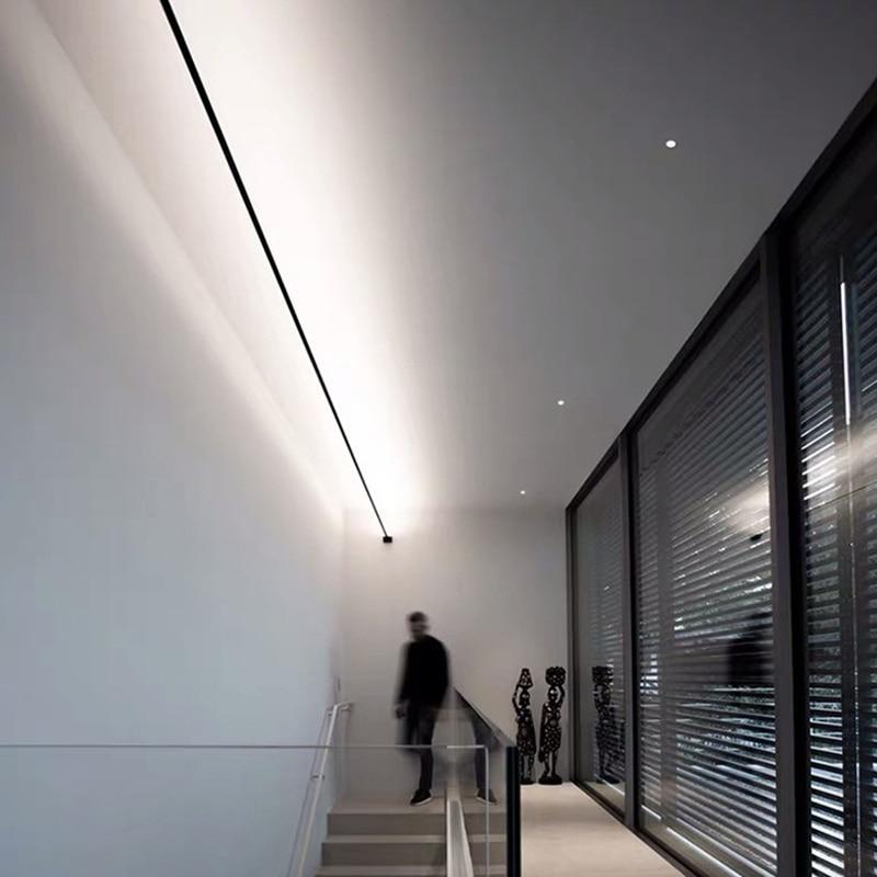 الحد الأدنى الحديثة أسود أبيض الجدار مصباح أفق الخطي عمود إضاءة LED شرائط الشمعدان الجدار الخفيفة لغرفة المعيشة خلفية ديكور أضواء