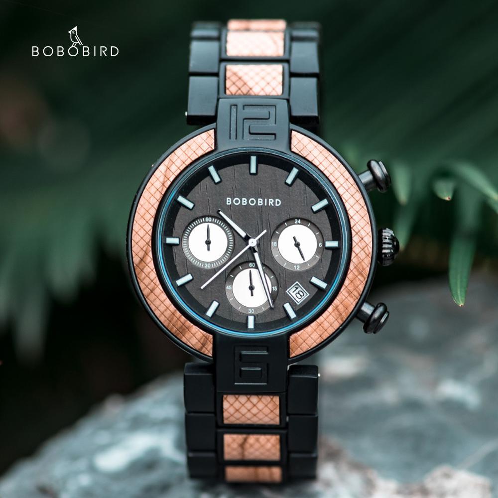 BOBO BIRD-ساعة كوارتز مصنوعة يدويًا للرجال والنساء ، ساعة توقيت ، مع صندوق خشبي ، هدية ، مجموعة جديدة 2020