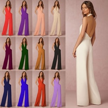 Women Summer Sexy Sleeveless Rompers Casual Overalls Female  Bodysuits Loose Party Playsuits Backles