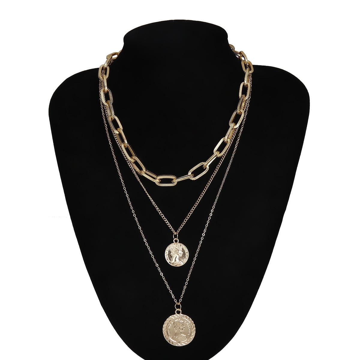 Модный сплав шаблон толстая цепочка многослойное ожерелье для женщин портрет простой ретро металлическая бирка ожерелье ювелирные изделия оптом