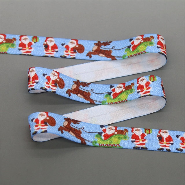 DHK 5/8'' 5yards christmas easter halloween printed Fold Elastic FOE stretch ribbon hairbow headwear headband DIY OEM C1767 6