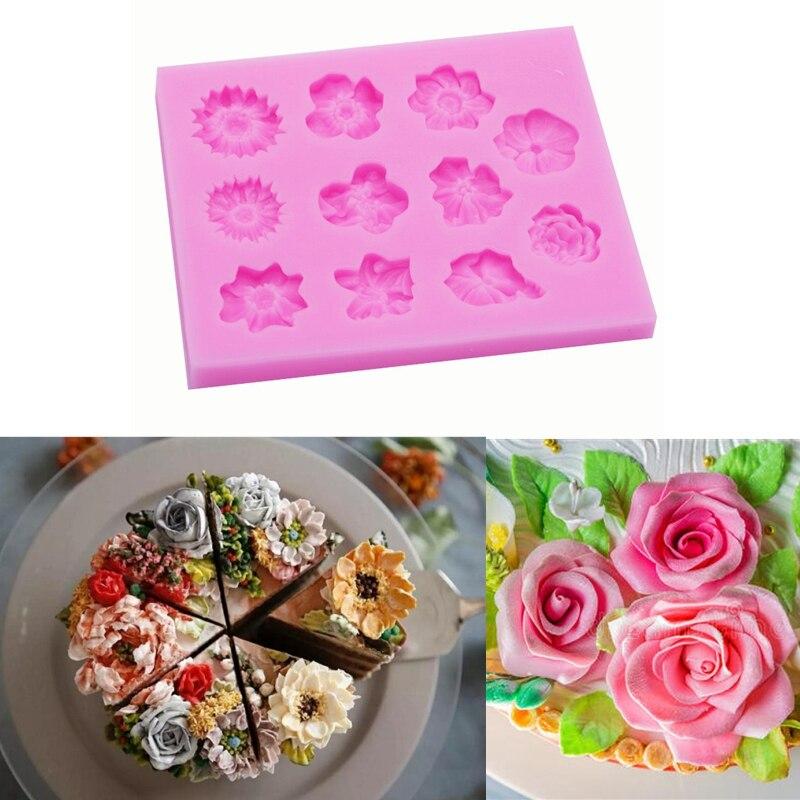 Molde de pastel de bricolaje una variedad de margaritas de flores rosas Gel de sílice de giro de azúcar molde decorativo suave Molde de Gel de sílice