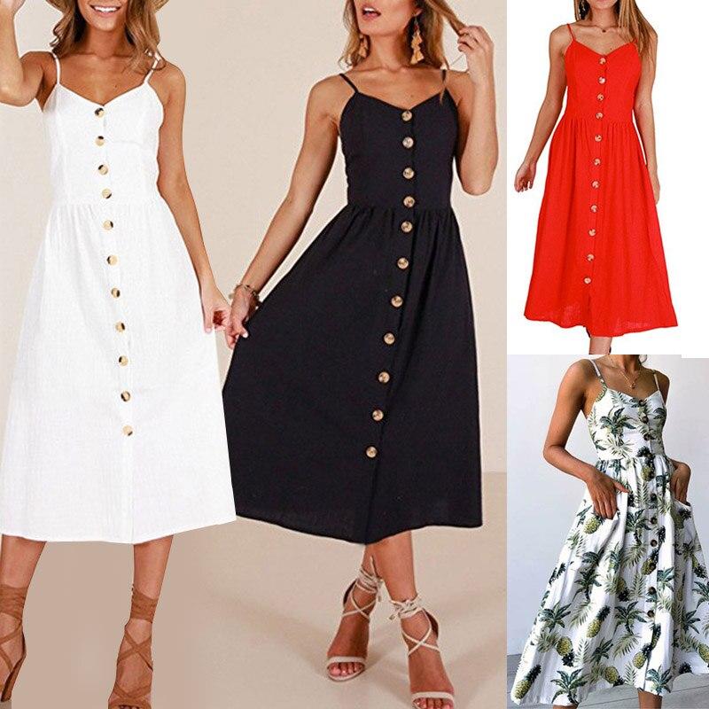 Женское длинное платье в полоску с цветочным принтом, сексуальное пляжное Повседневное платье миди с v-образным вырезом и пуговицами размера плюс 3XL, 2019