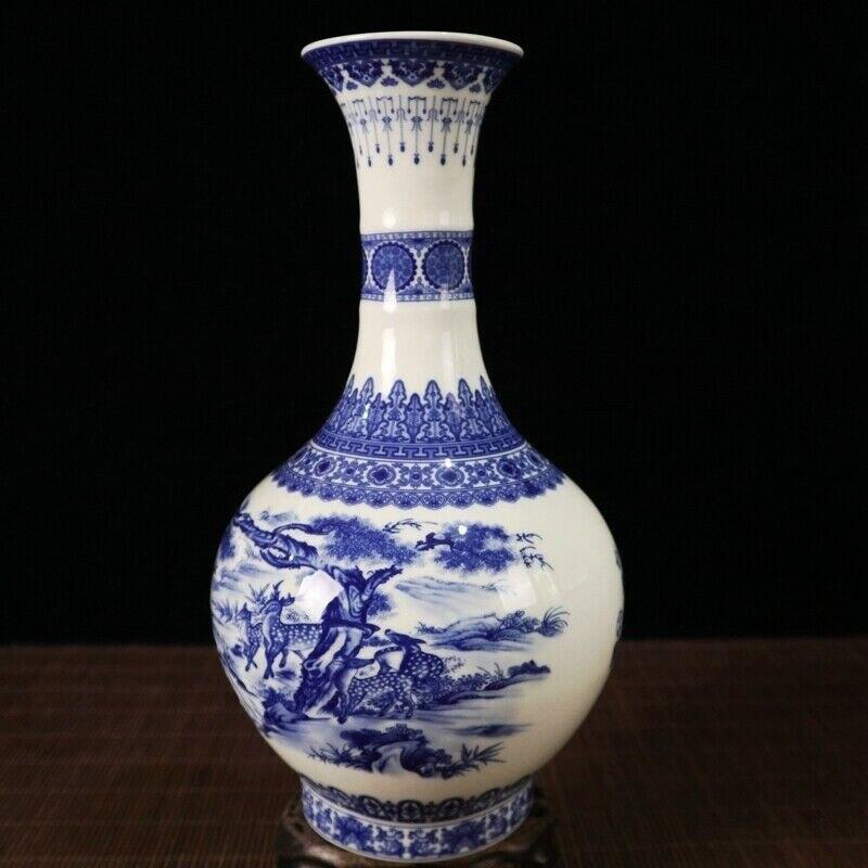 China alten porzellan Blau und weiß kiefer deer muster langen hals muster vase