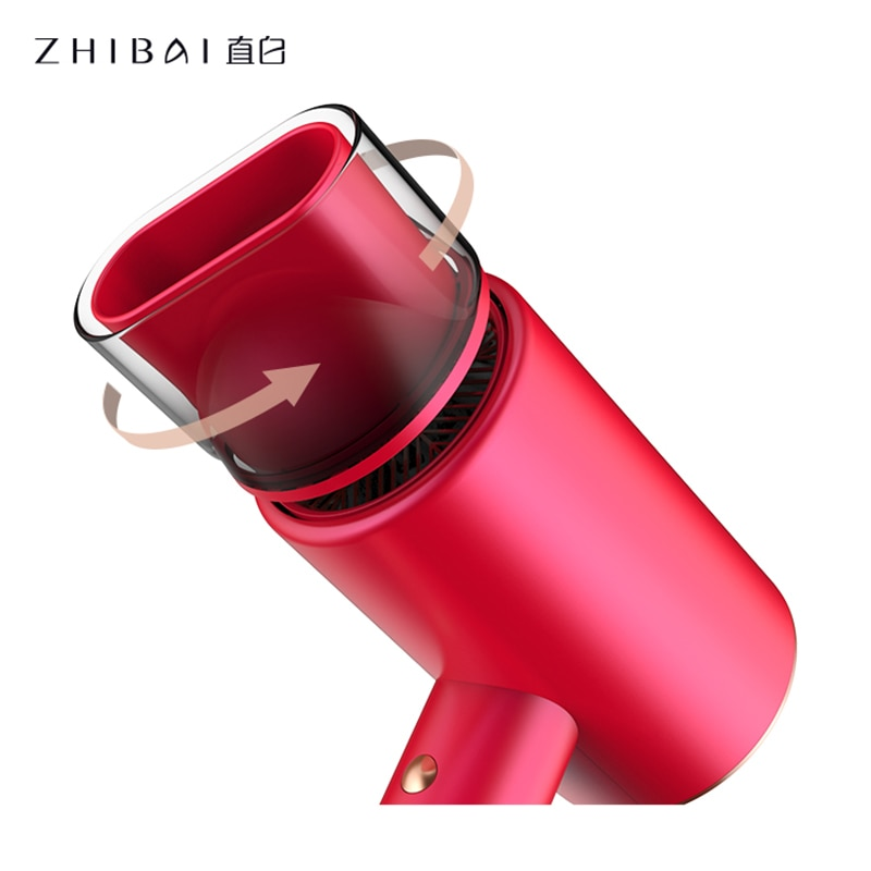 ZHIBAI Hair Dryer Red Three Layers Of Water Ions NTC Intelligent Cooling And Heating Cycle Mi Blow Dryer for Home Portable enlarge