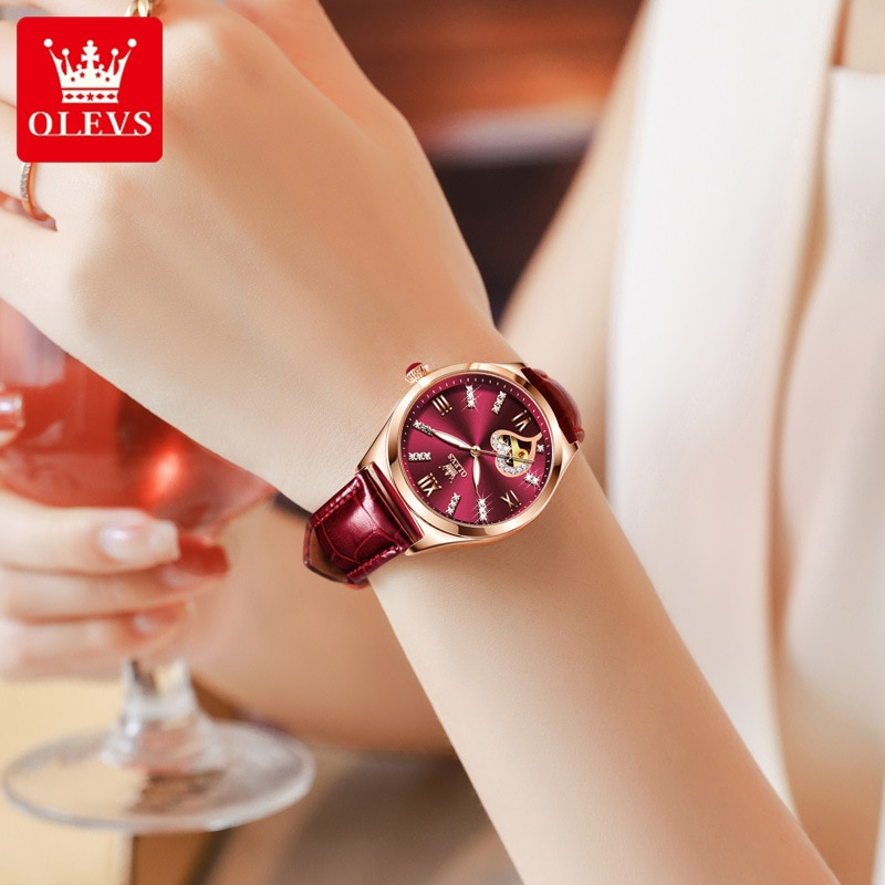 Fashion watch female automatic mechanical watch fast hand leather ladies watch waterproof female watch enlarge