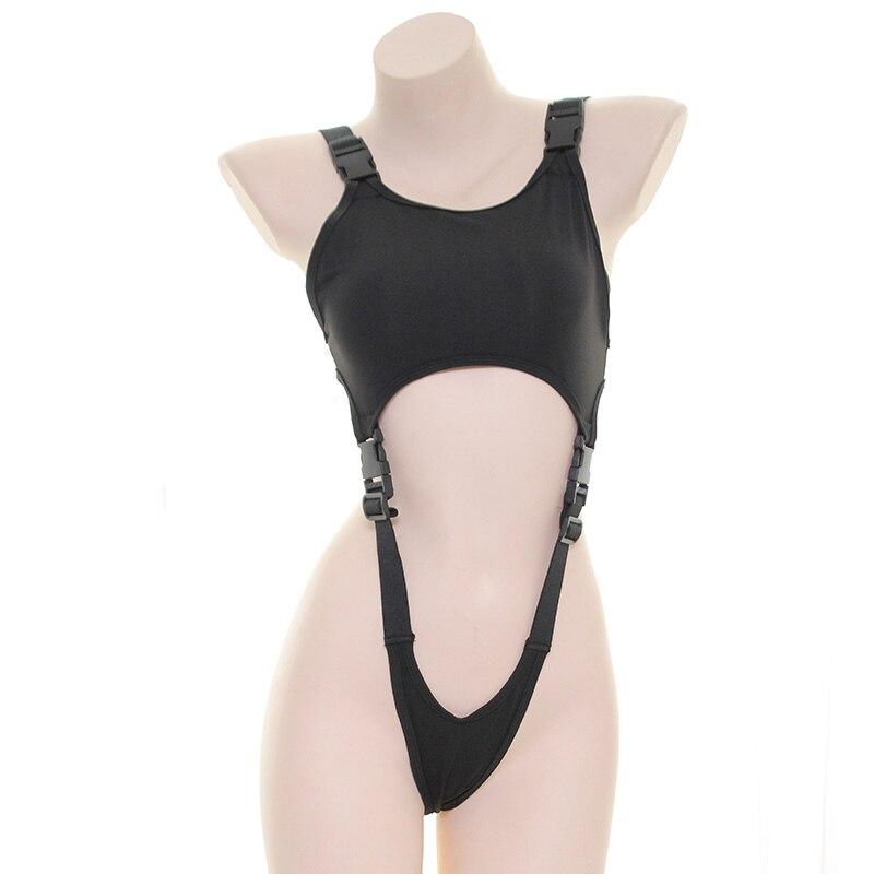 سترة سيامية يابانية سوداء مثيرة للنساء ، ملابس سباحة سوكوميزو مع مشبك مخرم