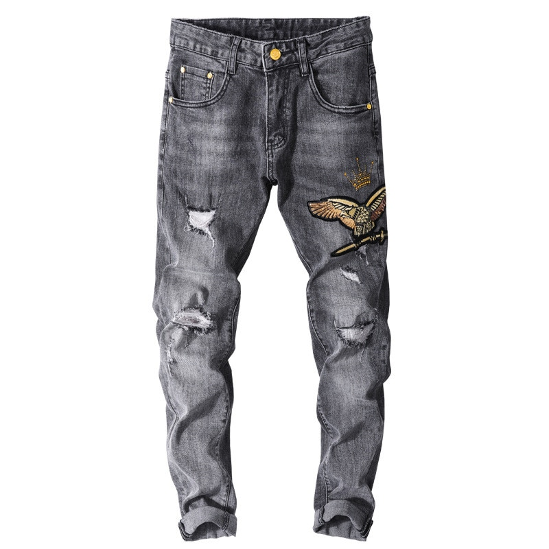 MORUANCLE الرجال موضة ممزق جينز مع النسر التطريز مرحبا شارع دمرت سراويل جينز ثقوب بسط مستقيم صالح