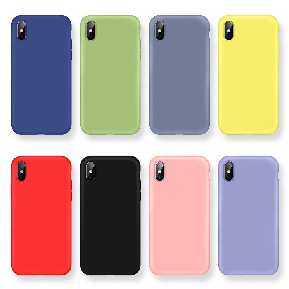 Líquido Original funda de silicona para iPhone 11 Pro Max X Xs X Max XR suave TPU caso para iPhone 7 7 6 6s Plus 11 Color caramelo Coque