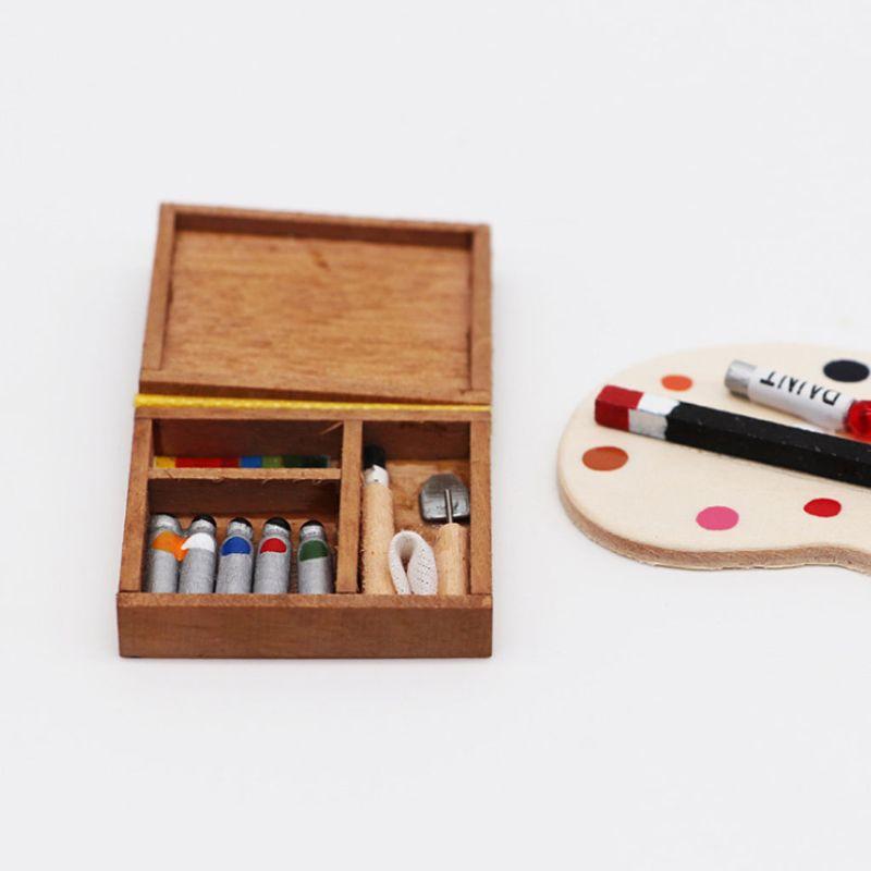 112 miniatura casa de muñecas decoración muebles caballete Mini marco de dibujo acuarela caja P31B