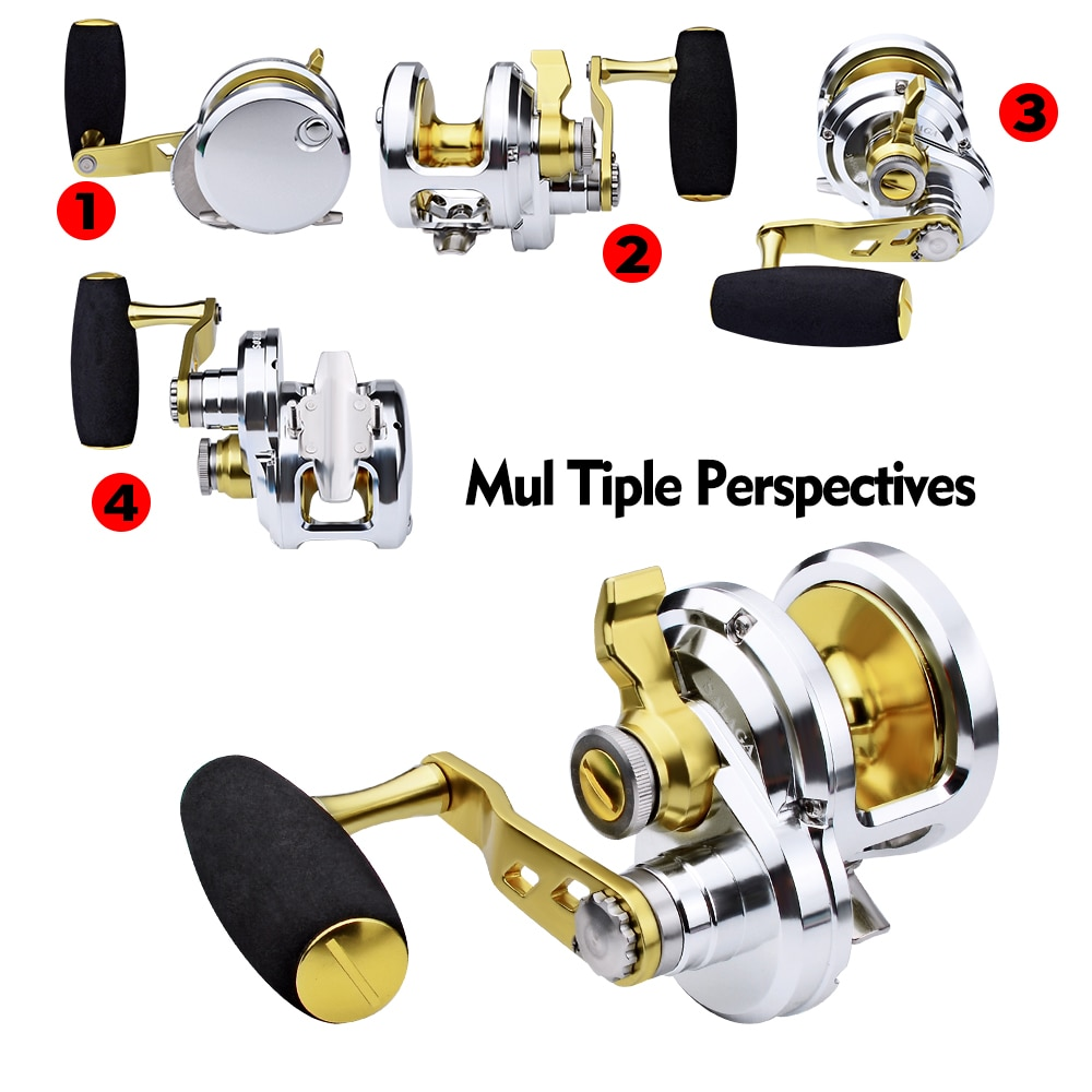 PRO BEROS 1pc 8+1BB Jigging Reels (Left/Right-Hand) Seawater Trolling Reels 5.7:1 Aluminum Gold Color CNC Machined Fishing Reels enlarge