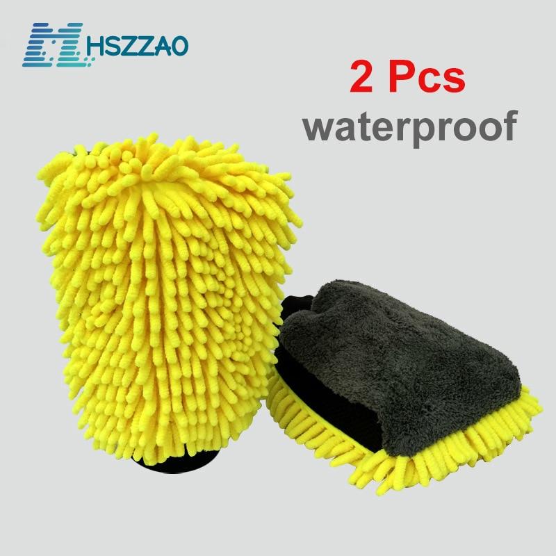 2 Pcs Ultra-Luxury Microfiber Car Wash Gloves Car Cleaning Tool Wheel Brush Multi-function Cleaning Brush Detailing
