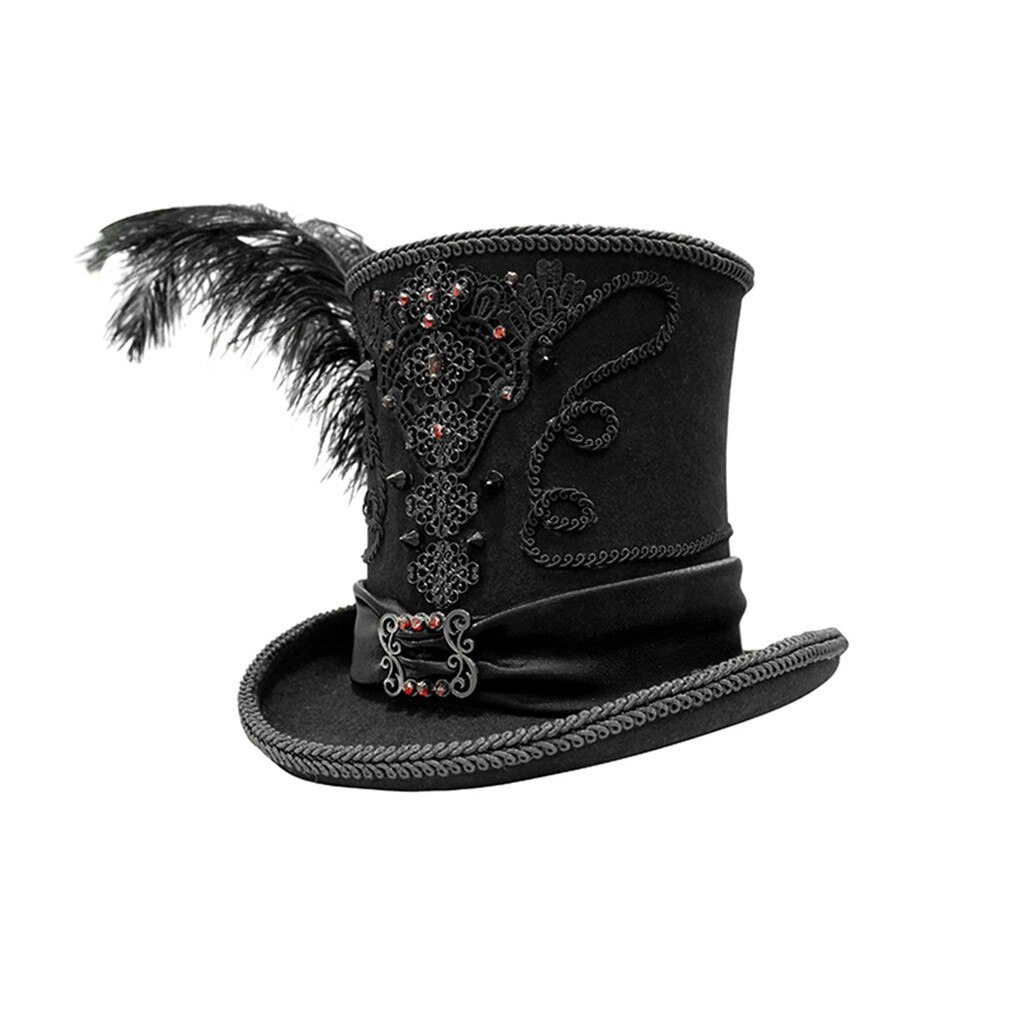 D.F Gothic Vintage Top Hat Men Top Steampunk Cosplay Punk Party Caps Feather Decoration Dropshipping High Quality New