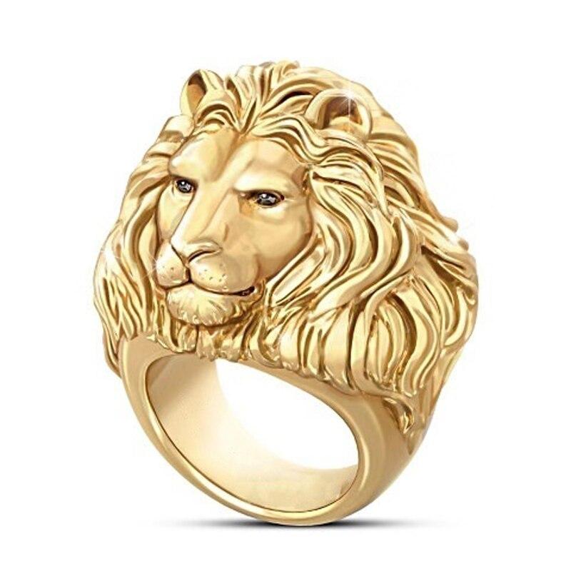 MENGYI Fashion Hip Hop Rock Lion Gold Ring For Men Animal Finger Rings Male Punk Biker Jewelry