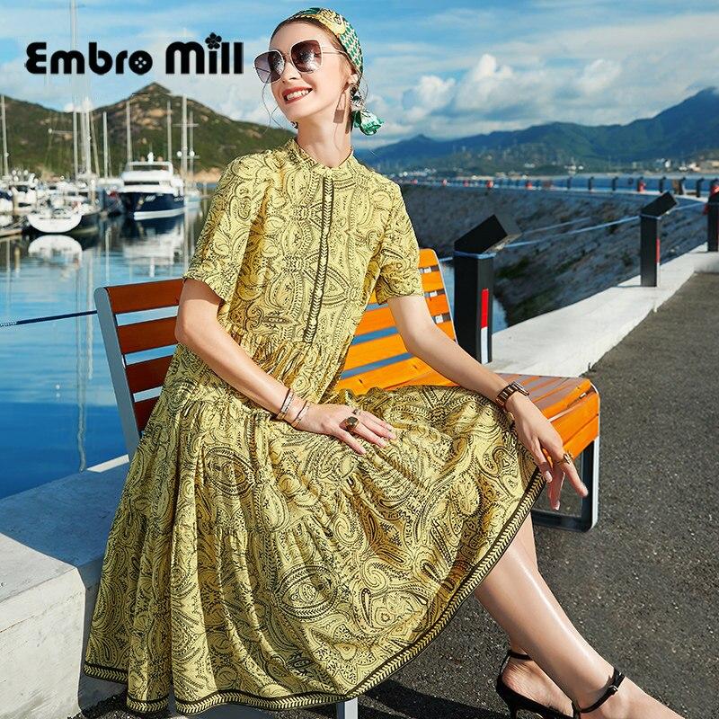 فستان حريري المرأة الصيف نمط الشارع الجديد الوقوف طوق قصيرة الأكمام فضفاضة منتصف طول التوت الحرير مطبوعة سيدة قميص فستان S-XL