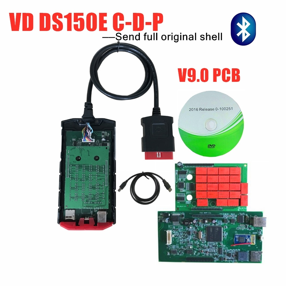 5 pzas/lote DHL FREESHIP para delphis VD DS150E c-d-pobd escáner v9.0 pcb con bluetooth/usb obd obdii coches camiones herramientas de diagnóstico
