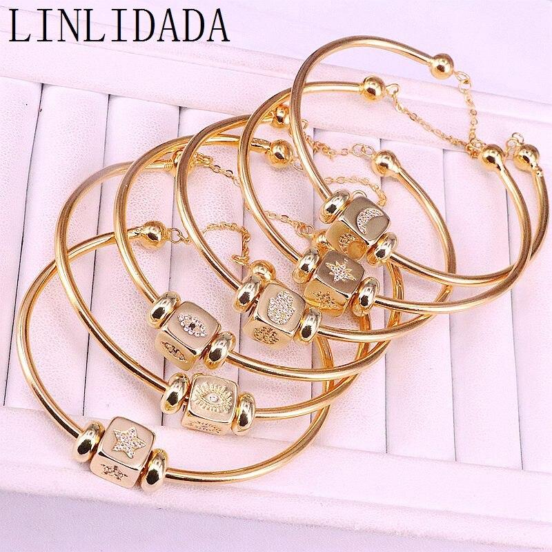 5 uds. Nueva joyería de Color oro de moda Micro Pave CZ cuentas de forma cuadrada, Zirconia cúbica pulseras de brazalete para mujer
