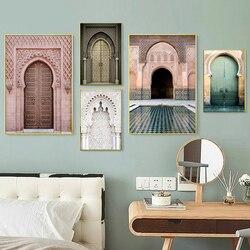 Marrocos porta nórdico cartaz da parede arte da lona pintura paisagem religião islâmica casablanca palácio fotos para sala de estar