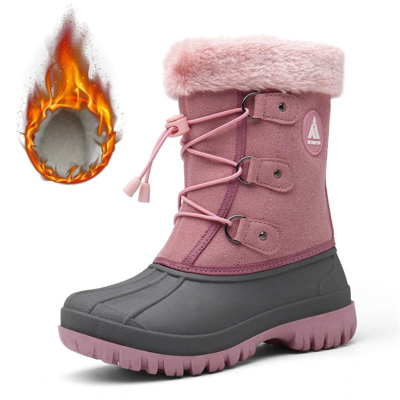 Botas para niñas al aire libre, botas de invierno para niños, zapatillas para niños, botas de nieve de felpa, botas de plataforma de media pantorrilla, tenis infantil