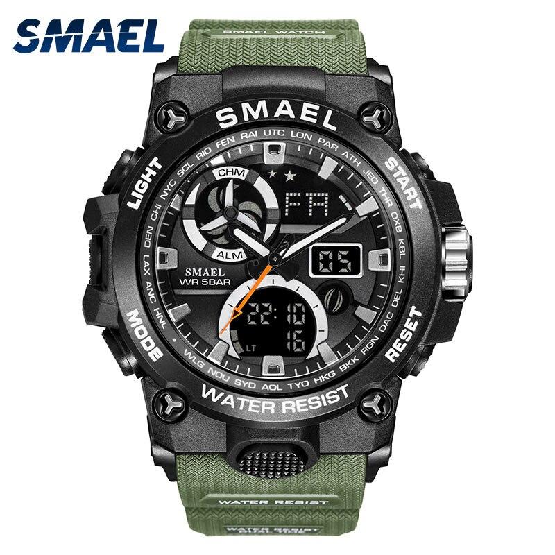 SMAEL Army Green Military Quartz Wirstwatch Men's Sports Watches Life Waterproof Pu Strap Shock Male Digital Clock Horloge Heren