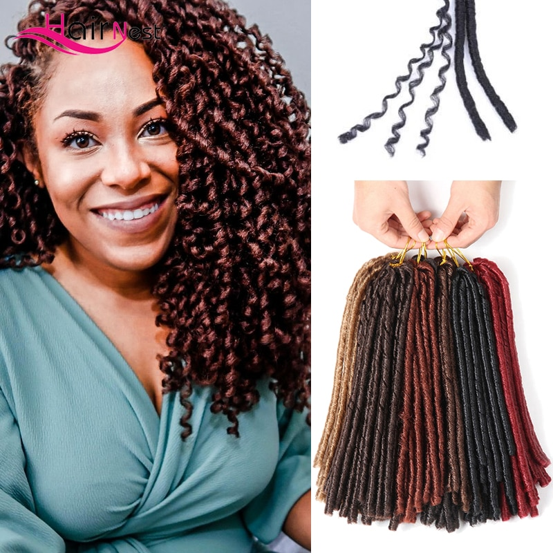 Hair Nest 14 Inch 30Roots Soft Dreadlock Crochet Braids Faux Curly Locs Synthetic Braiding Hair Extensions Black Hair for Women