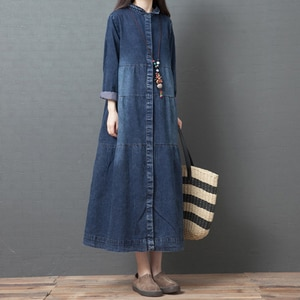 Loose Oversized Denim Women Dresses Autumn New Long Straight Knee-Length Lady Elegant Clothing Top Quality