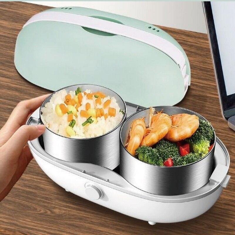 1L الفولاذ المقاوم للصدأ بينتو صندوق غداء كهربي متعدد الوظائف المحمولة الكهربائية البخار العزل الطبخ الغذاء الحاويات QZ3