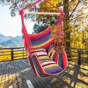 Child/Adult Hammock Chair Hanging Rope Chair Swing Chair with 2 Pillows for Garden Indoor Outdoor Fashionable Hammock Swings