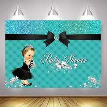 Diamante Baby Shower Foto fondo negro vestido étnico princesa fondo azul brillo arco recién nacido bebé telón de fondo para los padres