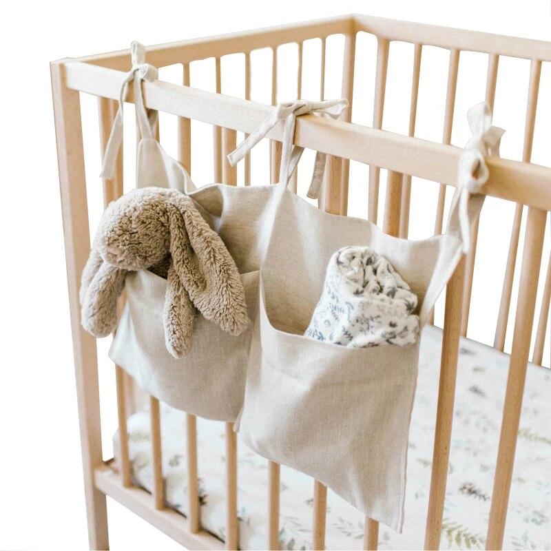 Baby Crib Organizer Bed Hanging Storage Bag Bedding Accessories Decorative Linen Diaper Double Pockets Hanging Storage Bag