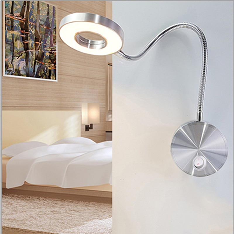 Lámpara de pared LED 5W mangueras flexibles para Hotel doméstico, lámpara de lectura para libros, luces de aluminio, bombillas LED, lámpara de lectura junto a la cama, lámpara de pared