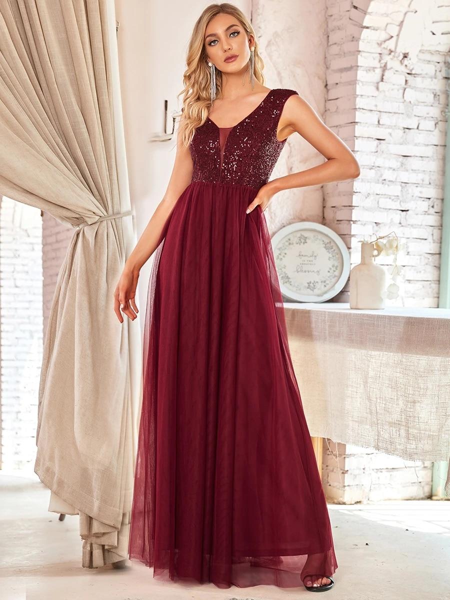 Women's A-Line V-Neck Sequin Dress Floor-Length Prom Dresses EP00983