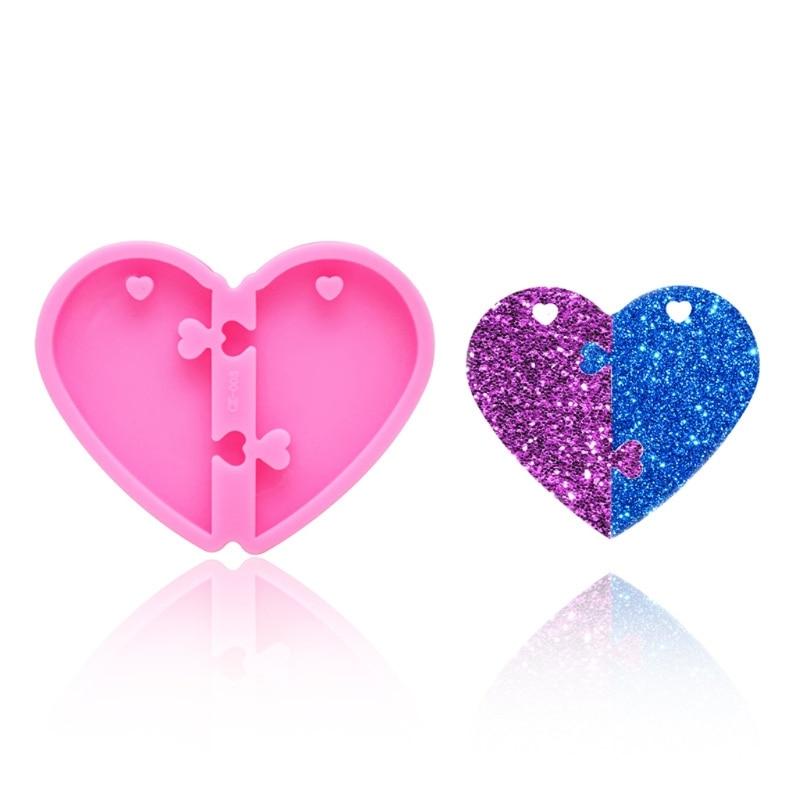 swarovski aila day heart 5242514 Handmade Valentine's Day Heart Pendant Keychain Resin Casting Mold Puzzle Heart Love Epoxy Resin Mold Tools Art Crafts