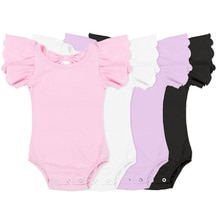 Kaiya Angle Summer Solid Cotton Romper Bodysuit Simple Fashion Design O-Neck Butterfly Sleeve Toddle