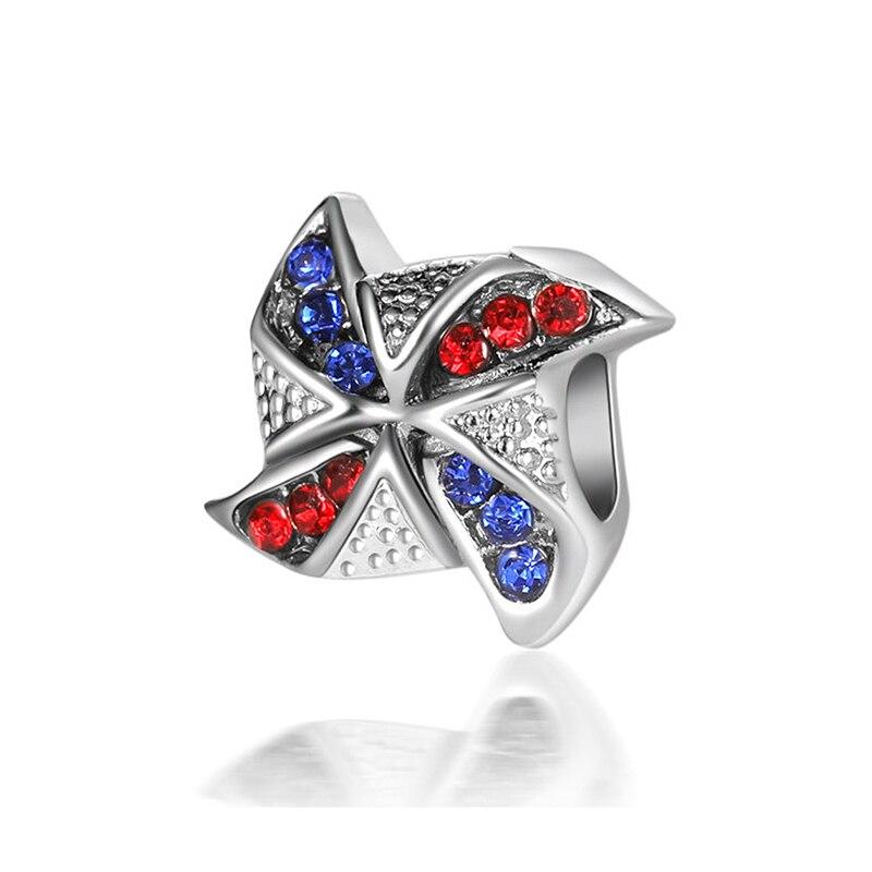Cuenta chapada plateada Original encanto de Pinwheel colorido azul oscuro rojo CZ ajuste Pandora pulsera brazalete collar DIY joyería de las mujeres
