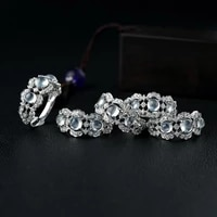 s925 ice like chalcedony egg noodle ring diamond natural chalcedony ring fashion simple luxury adjustable opening ring