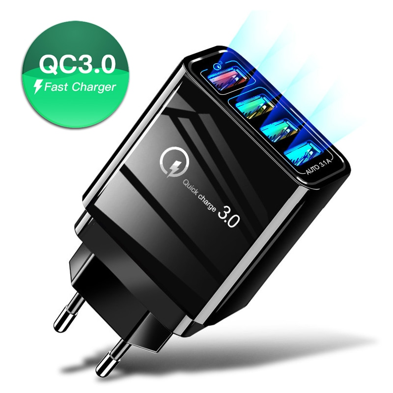 Cargador rápido USB QC3.0, adaptador de carga rápido para teléfono móvil de pared de 4 puertos para iPhone Samsung, Cargador rápido para teléfono móvil, enchufe EU US UK