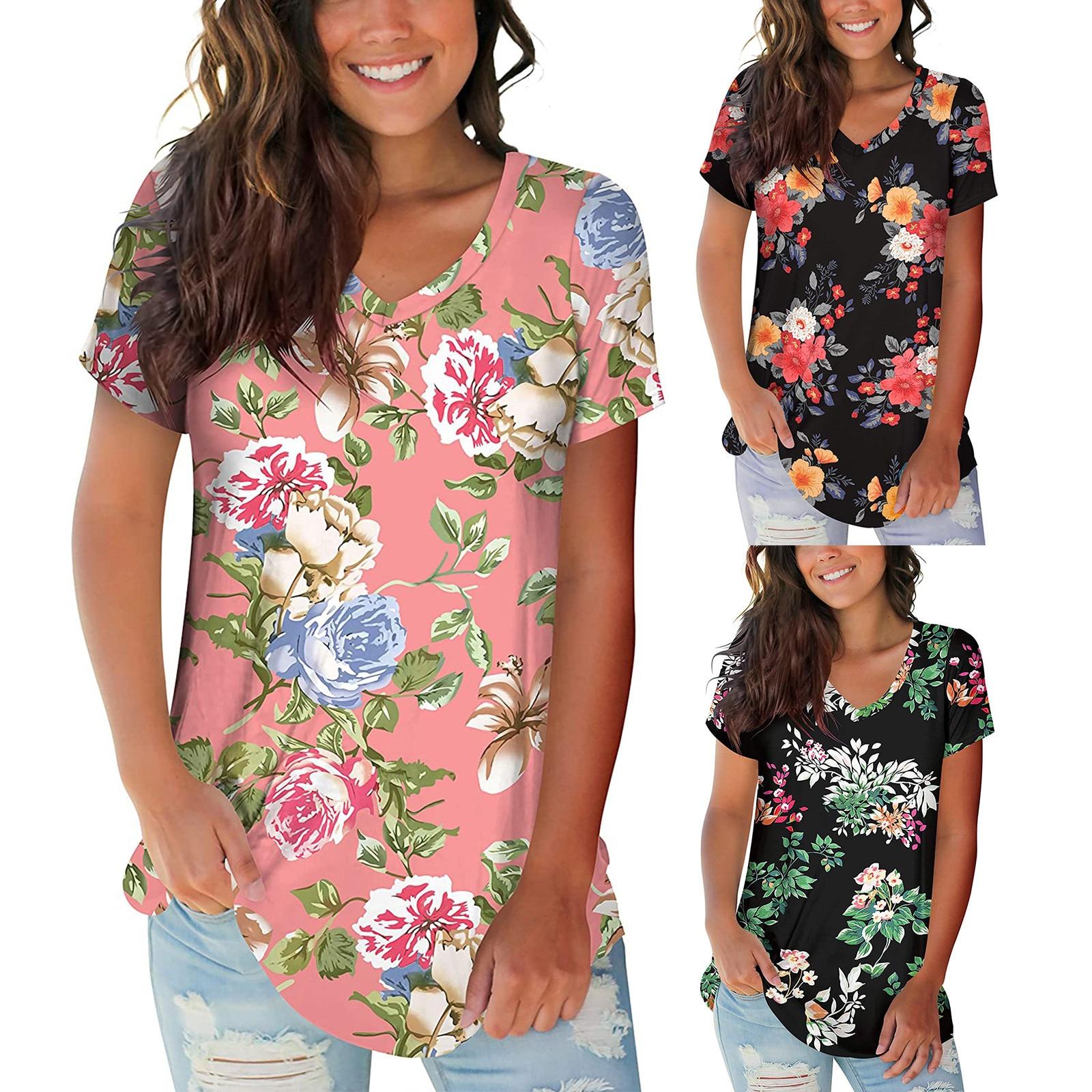 Las mujeres Tops Sexy cuello en V flores camiseta verano corto camisetas...