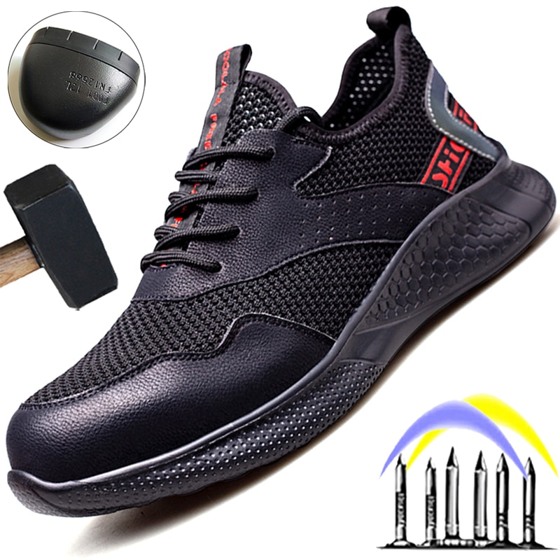 Breathable Mesh Safety Shoes Men Summer Work Sneakers Men Work Boots Anti-smash Anti-puncture Steel