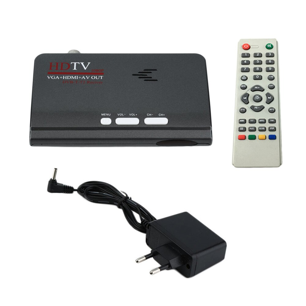 2019 EU Digital Terrestrial 1080P DVB-T/T2 TV Box VGA AV CVBS Tuner Receiver With Remote Control HD 1080P VGA DVB-T2 TV Box