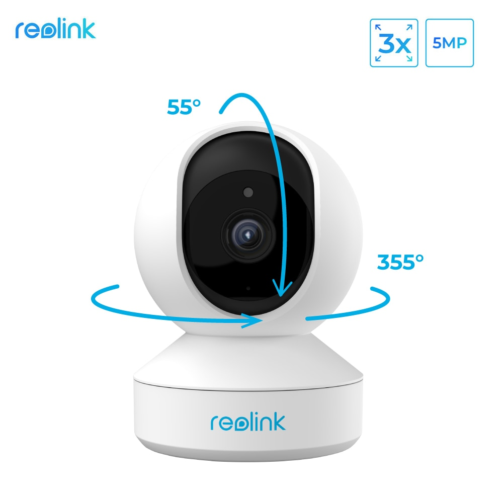Reolink 5MP PTZ home security camera wifi 2.4G/5G 3x Optical Zoom Pan/Tilt 2-way audio indoor SD car