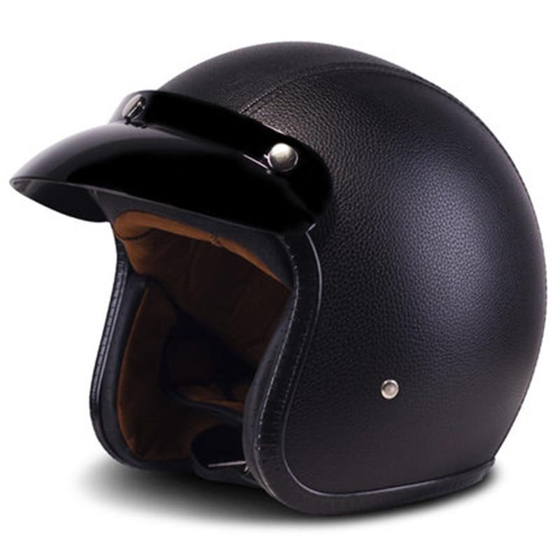 خوذات جلدية من البولي يوريثان 3/4, شحن مجاني ، خوذة الدراجة النارية المروحية ، خوذة الدراجة النارية ، مواجهة مفتوحة ، خوذة جلدية سوداء