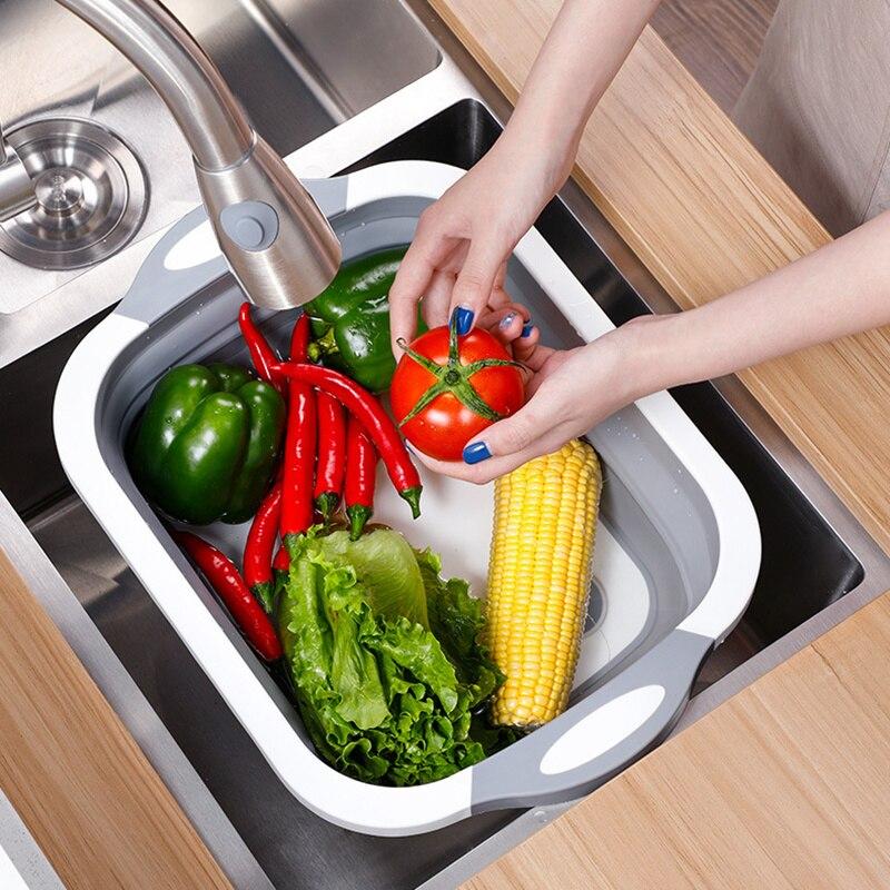 Tabla de cortar plegable de cocina, cortadora plegable de moho, multifuncional para lavar vegetales y frutas, cesta de almacenamiento de drenaje