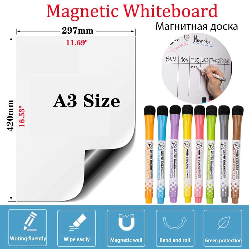 Белая доска Размера A3, Стикеры для практики, записей, сообщений, сухого стирания, календаря, доски, наклейки, магнитная белая доска