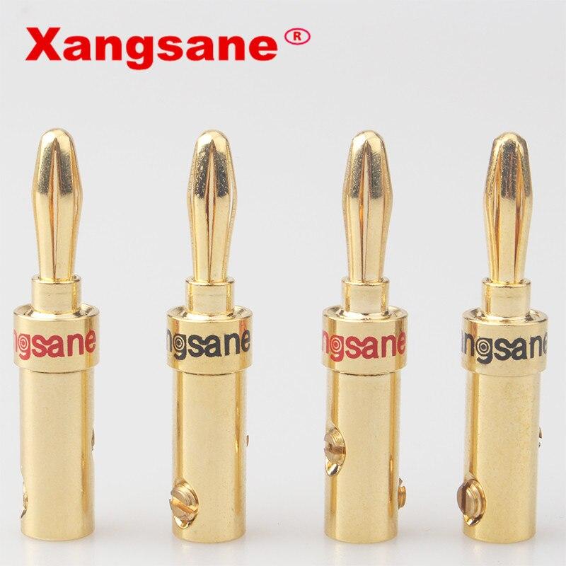 100 Uds venta al por mayor XangSane puro cobre chapado conector de cable de audio de altavoz banana