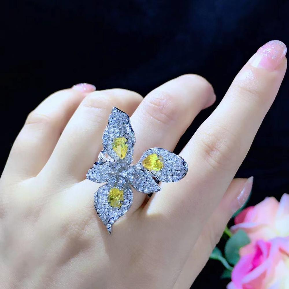 خاتم كوكتيل رومانسي من الفضة الإسترليني عيار 925 مع زهرة الزركون ، مجوهرات راقية للنساء ، شحن مجاني