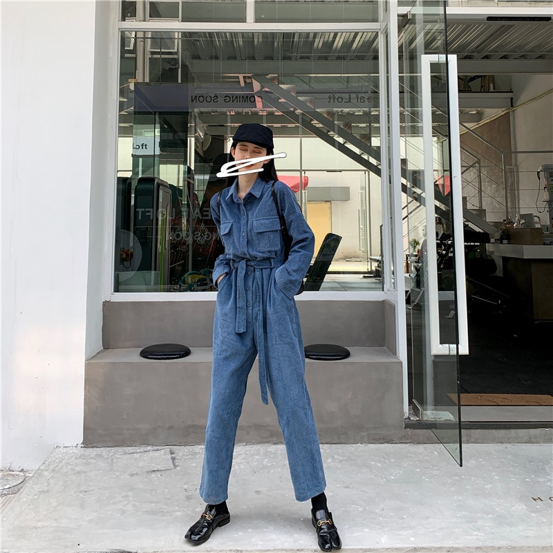 Cordurory Jumpsuit Long Sleeve Loose Fashion High Steet Belted Rompers Front Buttons Long Pants Overalls
