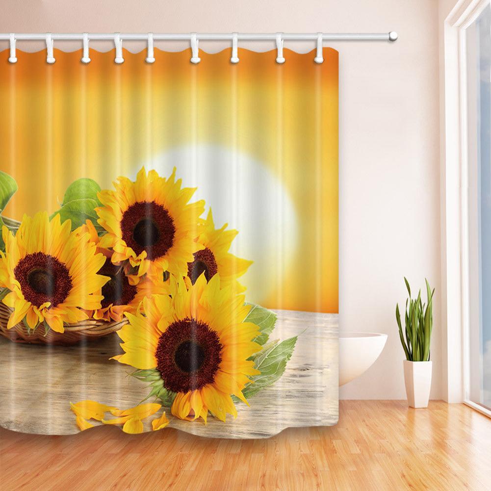Zasłona prysznicowa trwała odporność na pleśń nadruk ze słonecznikiem wodoodporny poliester zagęścić zmywalny zasłona prysznicowa wystrój łazienki